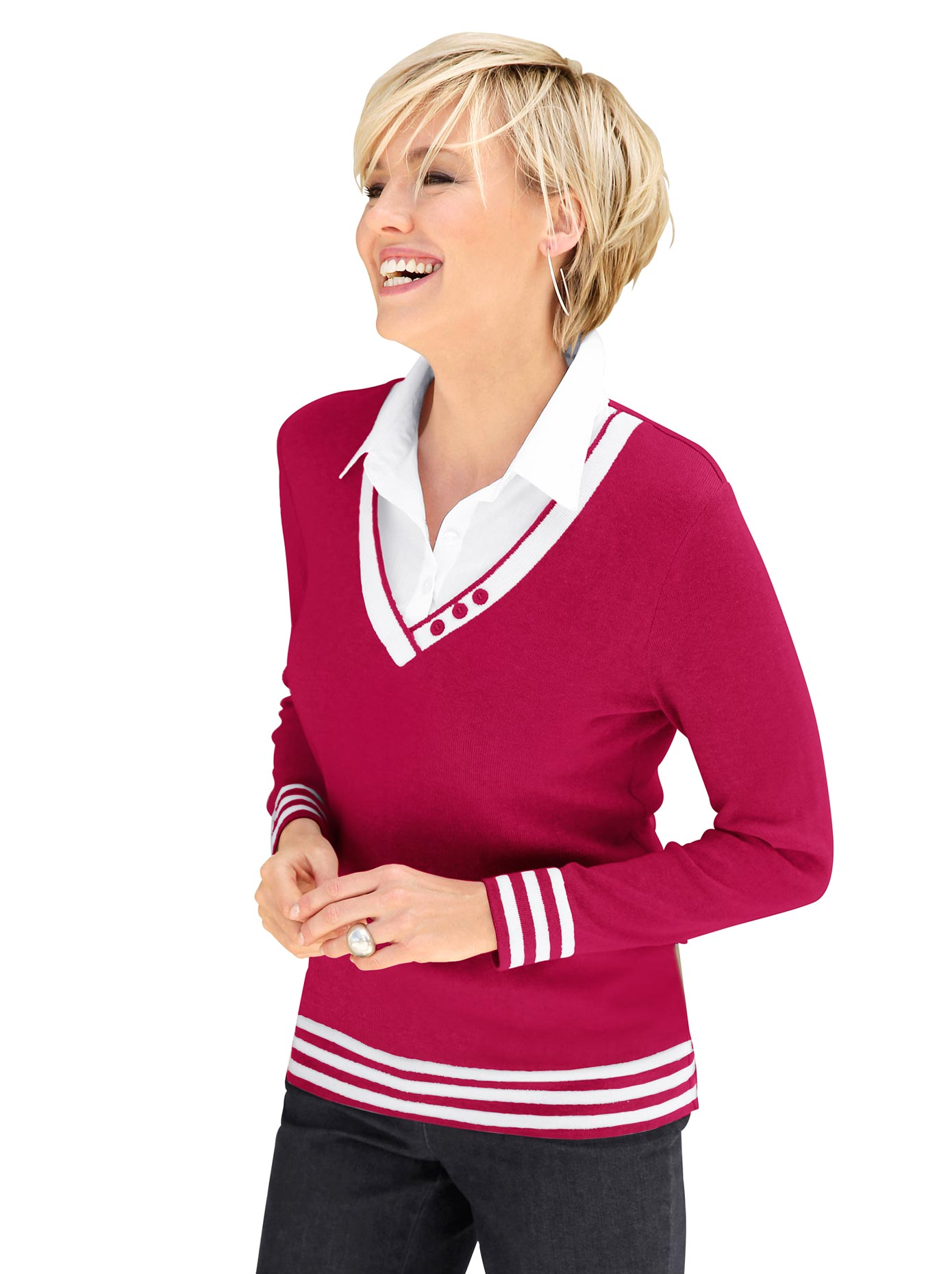 Collection L Damen 2-in-1-Pullover rot