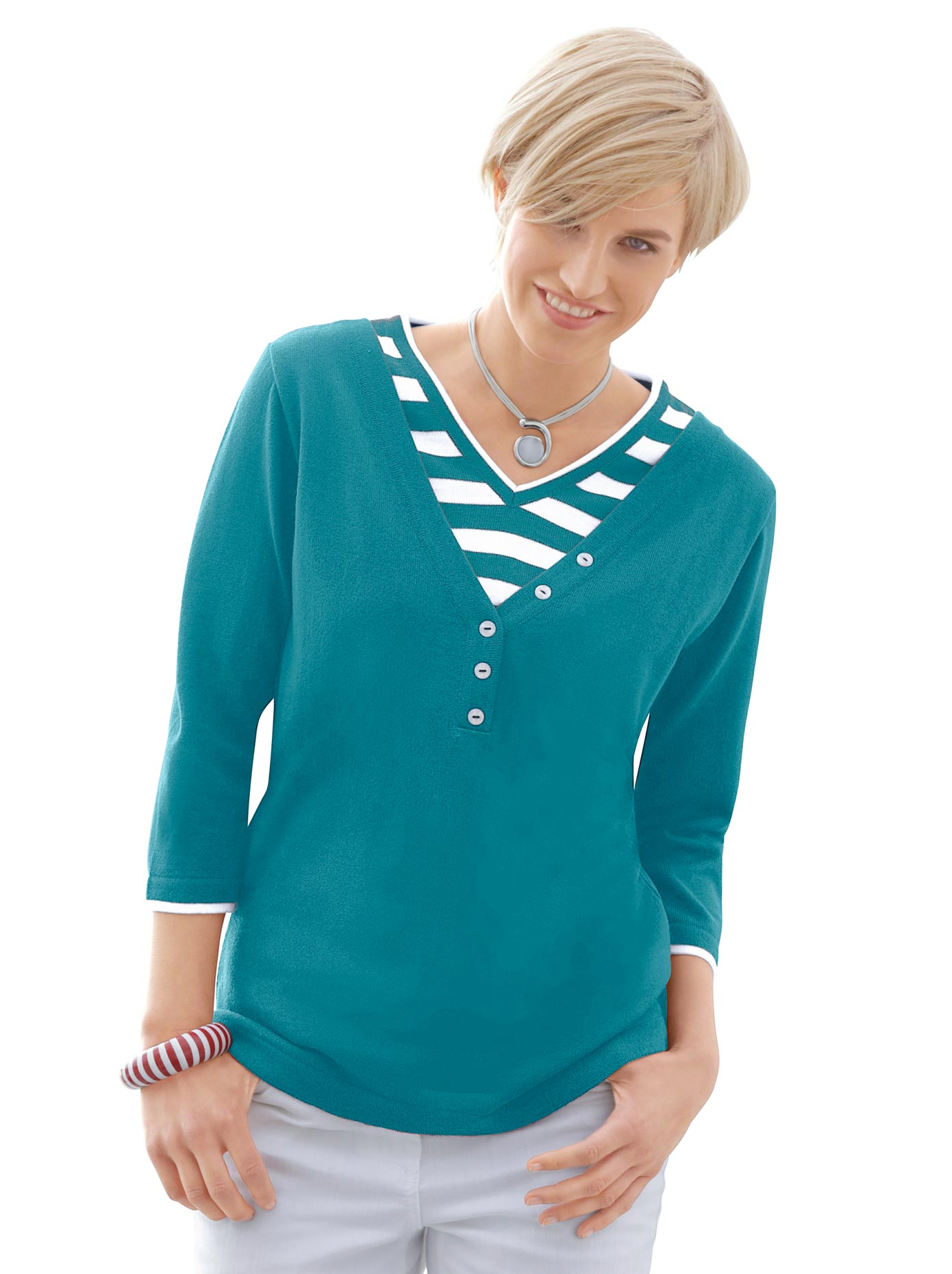 Collection L Damen 2-in-1-Pullover blau