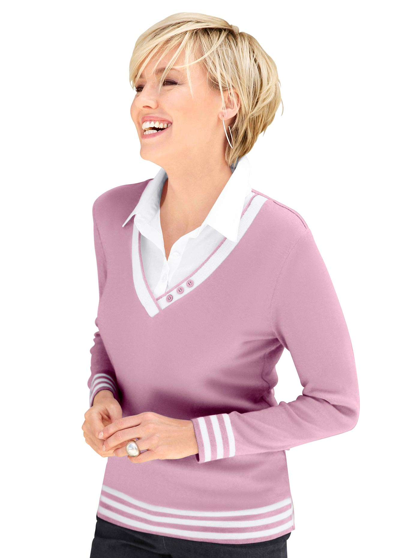 Collection L Damen 2-in-1-Pullover rosa Gr. 40