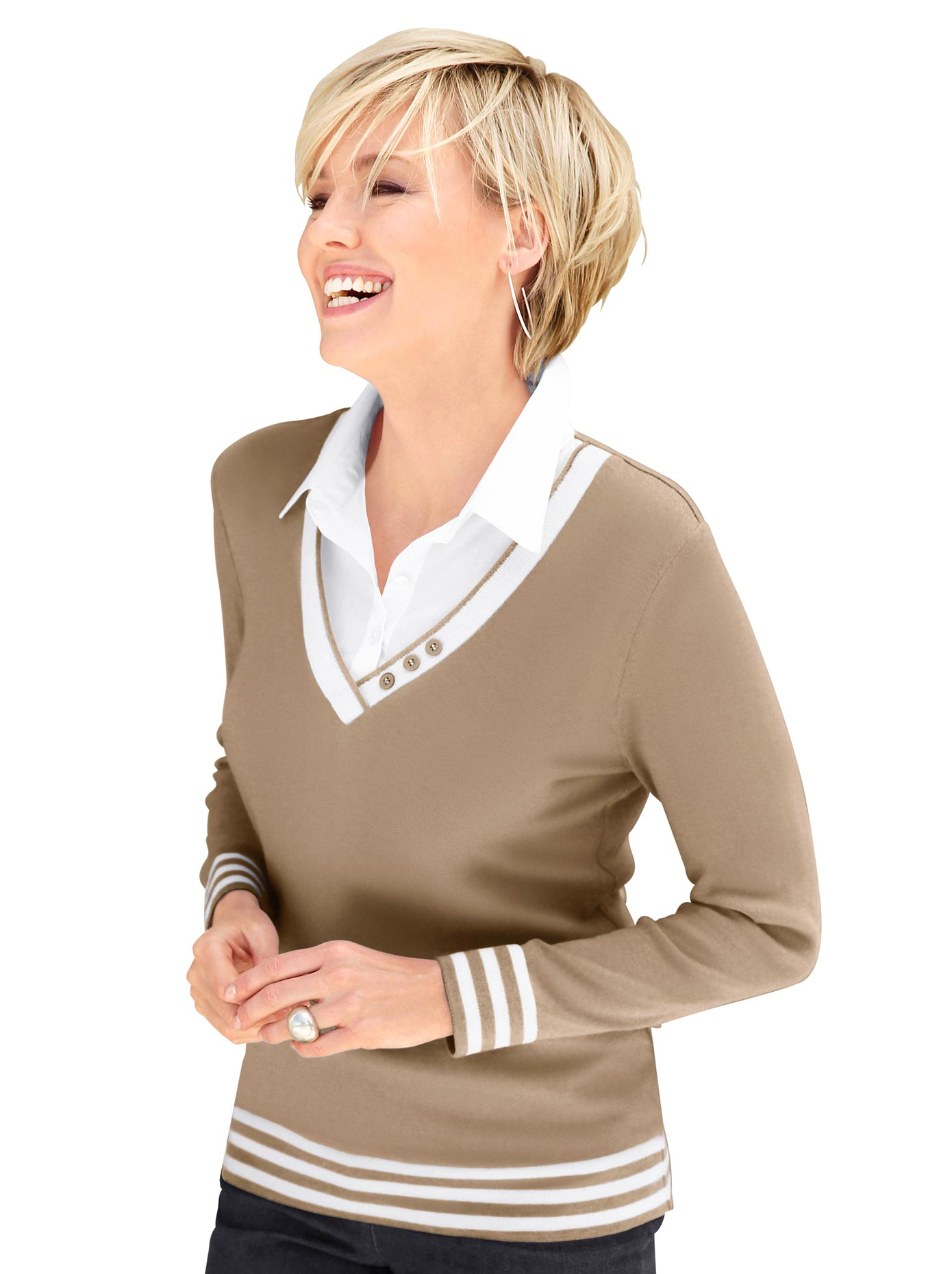 Collection L Damen 2-in-1-Pullover braun