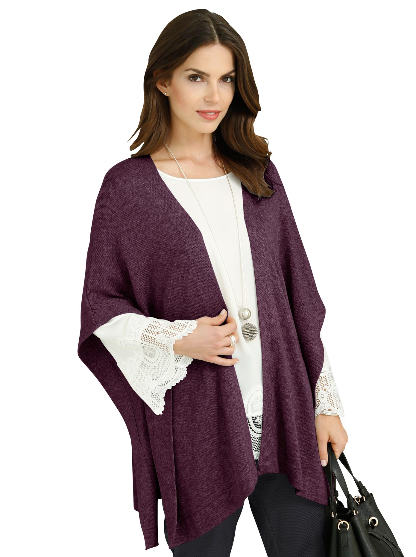 Jacken - Fair Lady Damen Strickponcho rot  - Onlineshop Witt Weiden