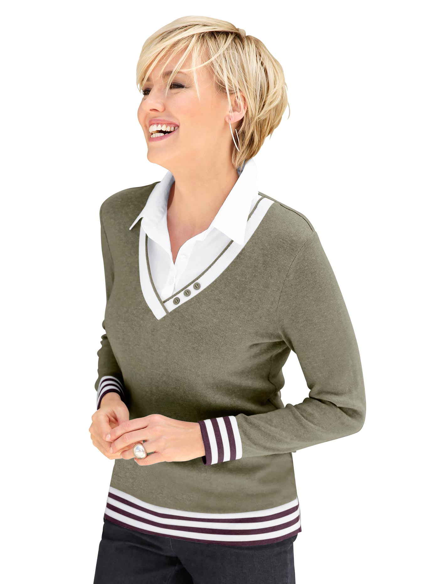 Collection L Damen 2-in-1-Pullover grün